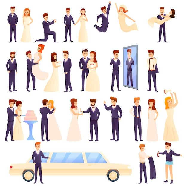 Conjunto de noivo, estilo cartoon Vetor Premium