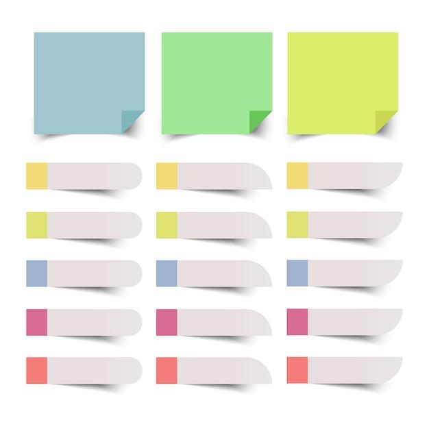 Conjunto de notas auto-adesivas coloridas. dowload. Vetor Premium