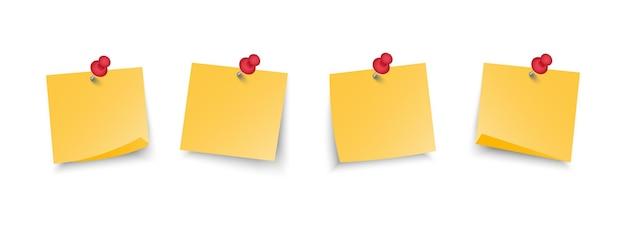 Conjunto de notas auto-adesivas de escritório amarelo com alfinetes. Vetor Premium