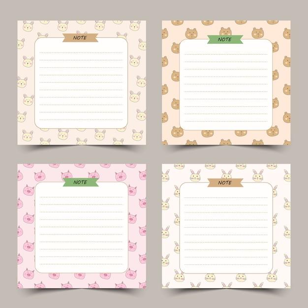Conjunto de notas de giro diário com moldura de animais. Vetor Premium