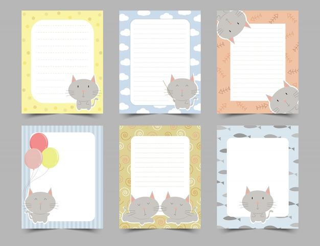 Conjunto de notas de giro diário com moldura de gatos. Vetor Premium