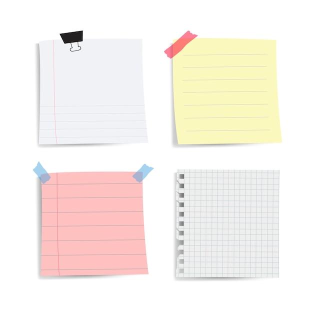 Conjunto de notas de papel lembrete em branco Vetor grátis