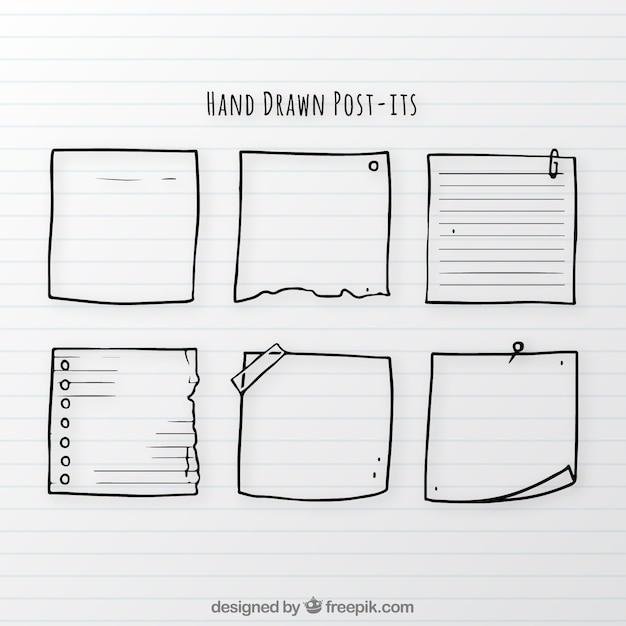 Conjunto de notas desenhadas à mão Vetor grátis