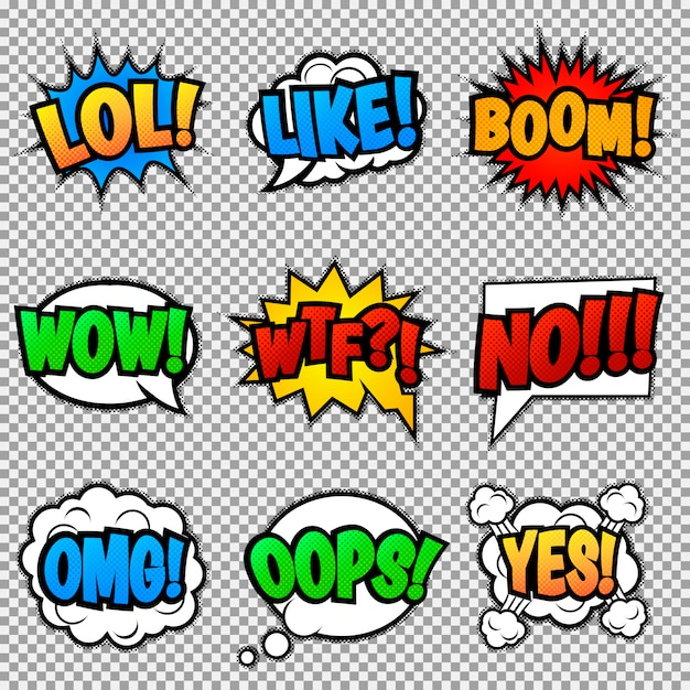 Conjunto de nove diferentes, coloridos adesivos em quadrinhos. bolhas do discurso pop art Vetor Premium