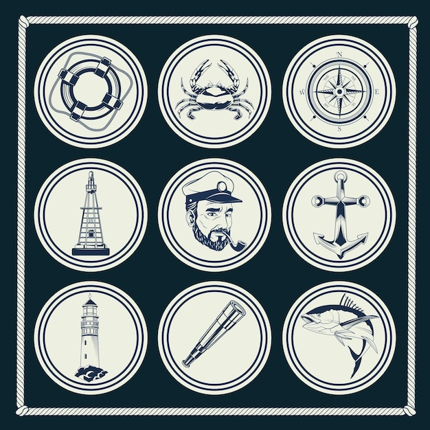 Conjunto de nove elementos náuticos cinza conjunto de ilustração de ícones Vetor Premium