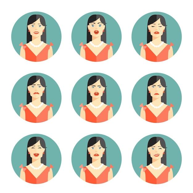 Conjunto de nove emoções de mulheres diferentes representando felicidade, alegria, tristeza, preocupação, raiva, frustração, descrença e confusão, na cabeça e, ombro, pose, em, circular vector illustration. Vetor grátis