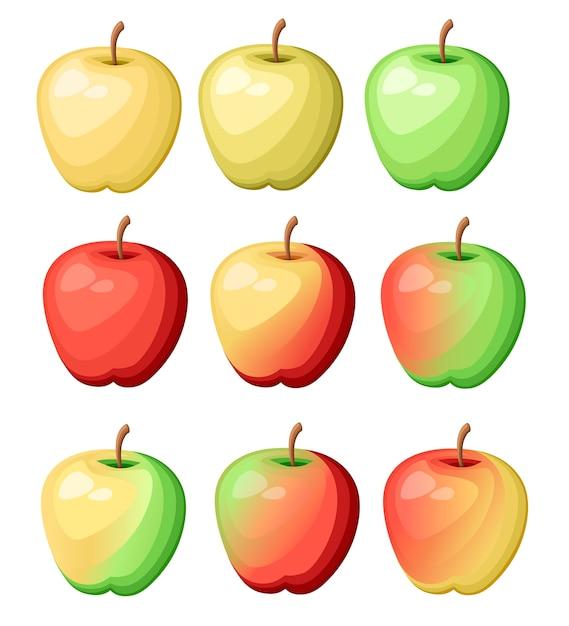 Conjunto de nove maçãs de cores diferentes. ilustração de frutas deliciosas frescas. ilustração em fundo branco. Vetor Premium