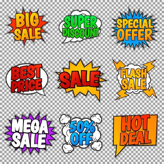 Conjunto de nove marcas de venda. estilo pop art, balões de fala. Vetor Premium