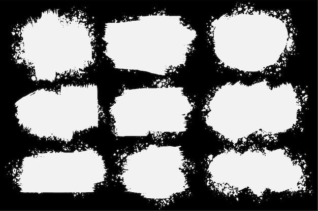 Conjunto de nove respingos de grunge abstrato Vetor grátis