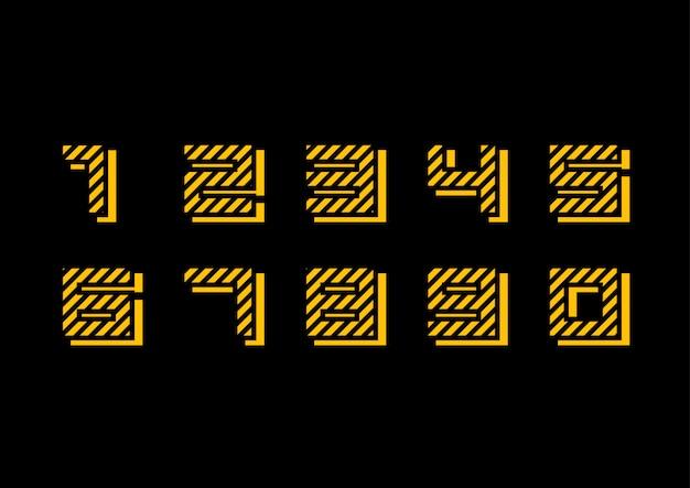 Conjunto de números amarelos geométricos decorados Vetor Premium