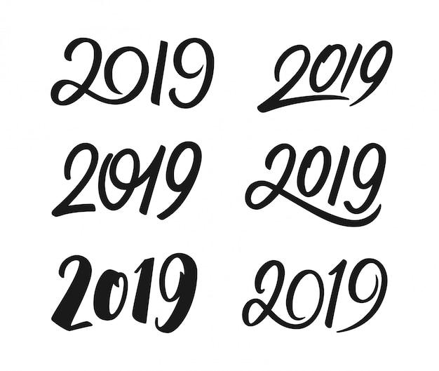 Conjunto de números de caligrafia do ano novo 2019 Vetor Premium