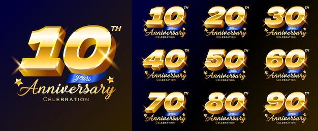 Conjunto de números de comemoração de aniversário de ouro, logotipo, emblema, modelo de cartaz, banner, ilustração. Vetor Premium
