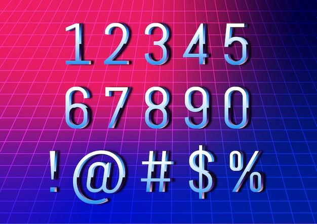 Conjunto de números de fonte retrô tecnologia cibernética Vetor Premium