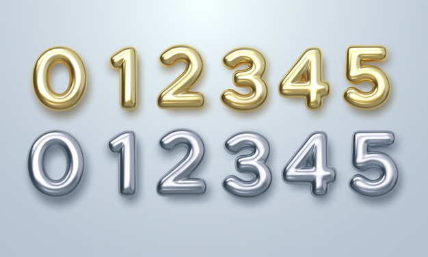 Conjunto de números de ouro e prata Vetor Premium