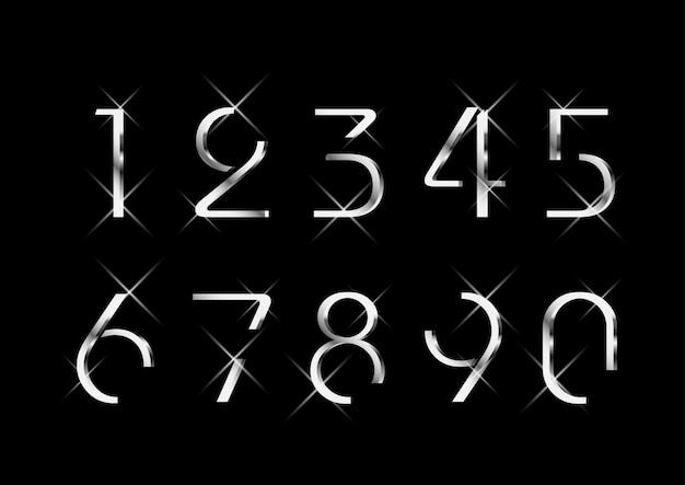Conjunto de números de prata moda elegante luxuoso Vetor Premium