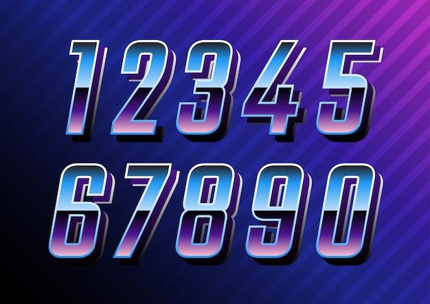 Conjunto de números de tecnologia retro futurista Vetor Premium