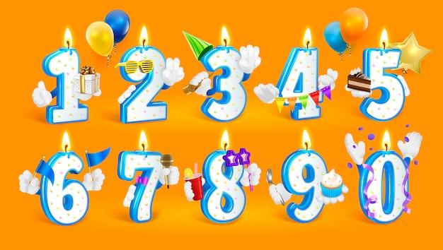 Conjunto de números de vela feliz aniversário. Vetor Premium