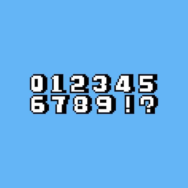 Conjunto de números do pixel art dos desenhos animados. Vetor Premium