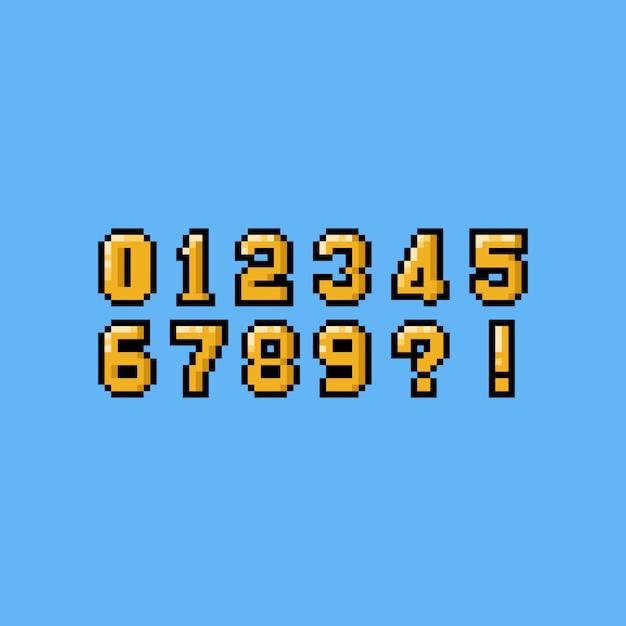Conjunto de números pixel arte dos desenhos animados de ouro. Vetor Premium
