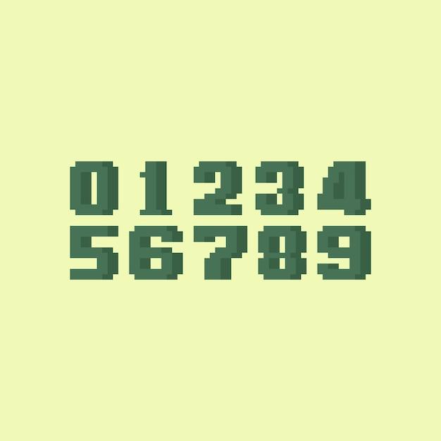 Conjunto de números retrô pixel art. Vetor Premium