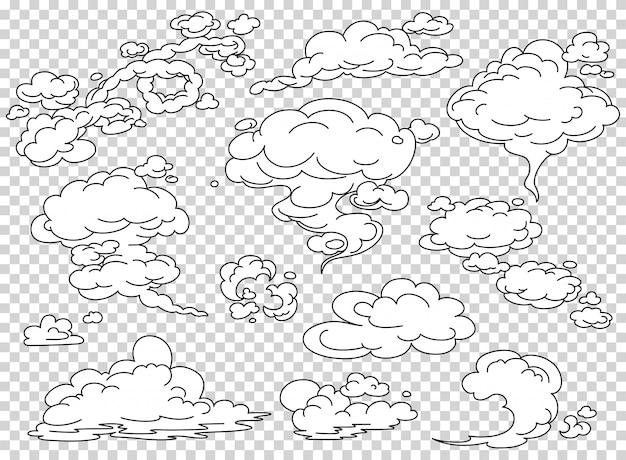 Conjunto de nuvens de vapor de quadrinhos Vetor Premium