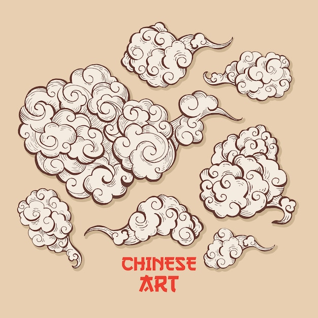 Conjunto de nuvens e vento sopra com estilo de arte chinesa Vetor grátis