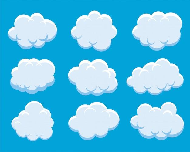 Conjunto de nuvens fofas Vetor grátis