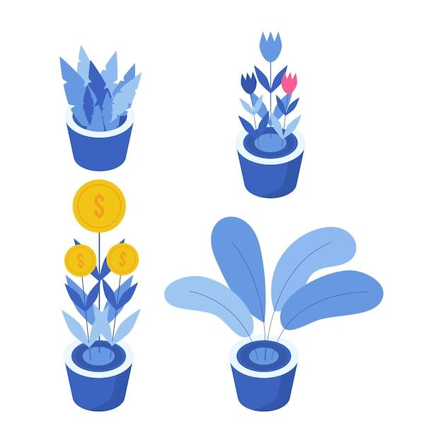 Conjunto de objeto de ilustração de planta. elemento vegetal para apresentação e cartaz. ilustração de projeto de planta. Vetor Premium