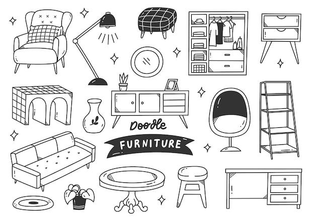 Conjunto de objeto interior desenhado à mão estilo doodle Vetor Premium