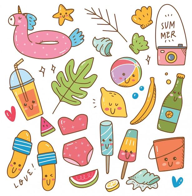 Conjunto de objeto relacionado de verão em estilo de doodle kawaii Vetor Premium