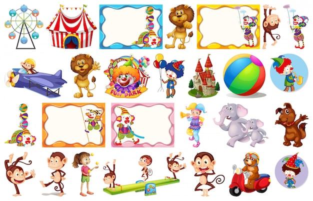 Conjunto de objetos circenses diferentes Vetor grátis