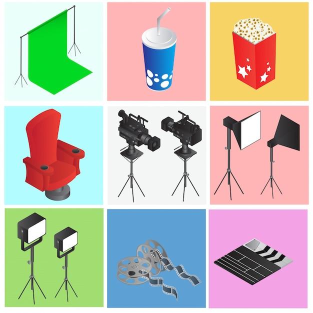 Conjunto de objetos coloridos de cinema ou filme em estilo 3d. Vetor Premium