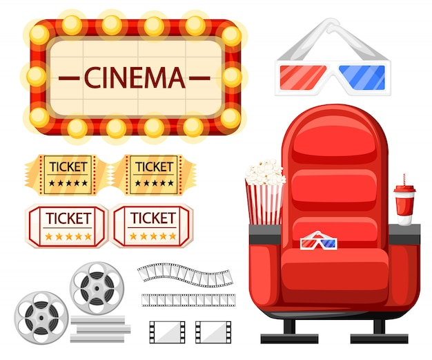 Conjunto de objetos de cinema. assento de cinema, óculos, ingressos, rolo de filme, bobina e tira. fita de cinema torcida. estilo de desenho animado. ilustração em fundo branco. página do site e aplicativo Vetor Premium