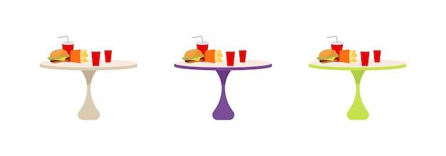 Conjunto de objetos de cor plana de mesas de fast food. pequena mesa redonda com hambúrguer e refrigerante. almoço rápido, desenho de refeição isolada Vetor Premium