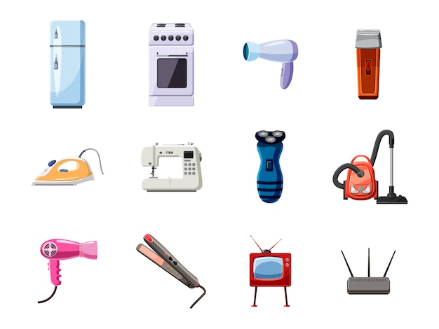 Conjunto de objetos de eletrodomésticos. conjunto de desenhos animados de eletrodomésticos Vetor Premium