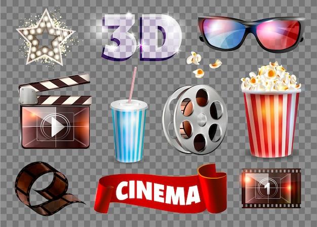 Conjunto de objetos de filme. Vetor Premium