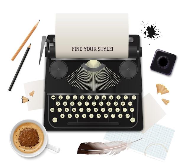 Conjunto de objetos de literatura realista da vista superior do escritor em branco Vetor grátis