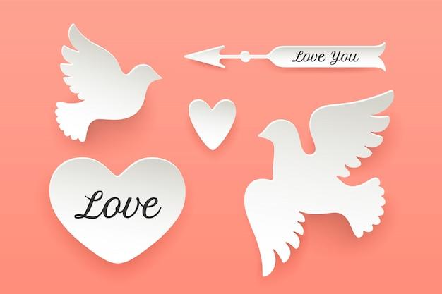 Conjunto de objetos de papel, coração, pombo, pássaro, seta Vetor Premium