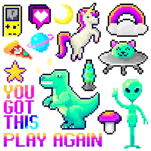 Conjunto de objetos de pixel art isolado. estilo de jogo vaporwave Vetor Premium