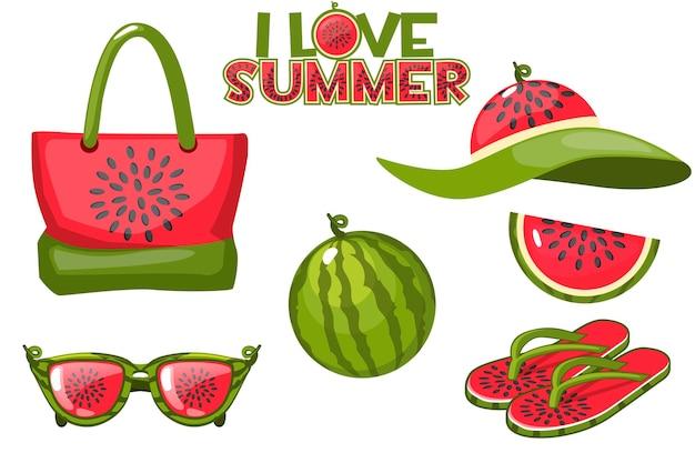 Conjunto de objetos de praia de elementos de melancia e verão. bolsa de praia, óculos, melancia, chapéu e chinelos. Vetor grátis