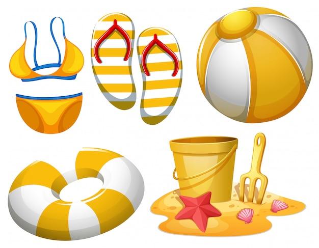 Conjunto de objetos de praia Vetor grátis