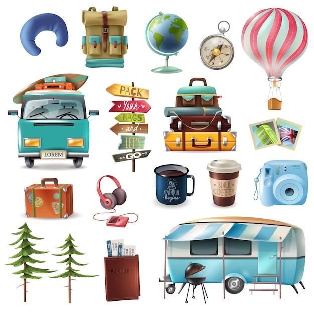 Conjunto de objetos de viagem Vetor grátis