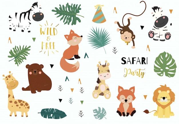 Conjunto de objetos do safari Vetor Premium