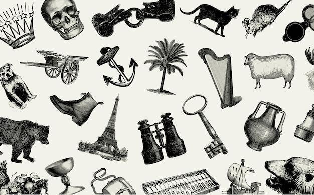 Conjunto de objetos europeus vintage Vetor grátis