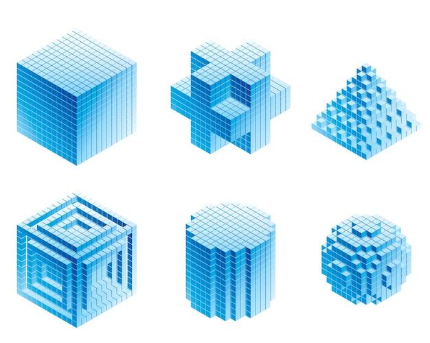 Conjunto de objetos geométricos em fundos brancos Vetor Premium