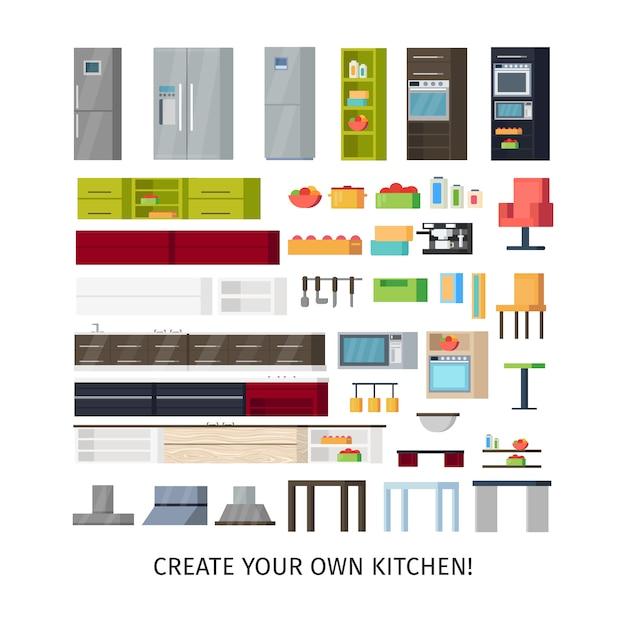 Conjunto de objetos internos de cozinha moderna Vetor grátis