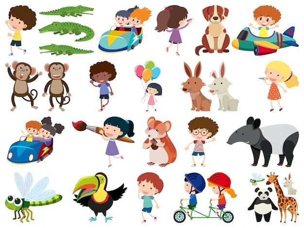 Conjunto de objetos isolados de crianças e animais Vetor Premium