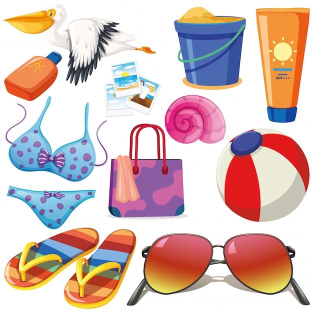 Conjunto de objetos isolados tema férias de verão Vetor grátis