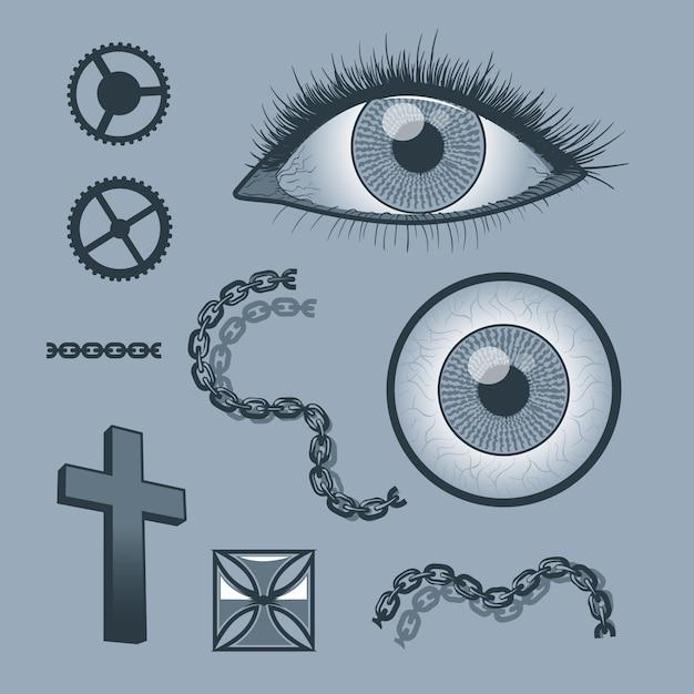 Conjunto de objetos para gráficos de tatuagem Vetor Premium