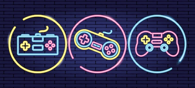 Conjunto de objetos relacionados aos controles de videogame no estilo neon e lienal Vetor grátis
